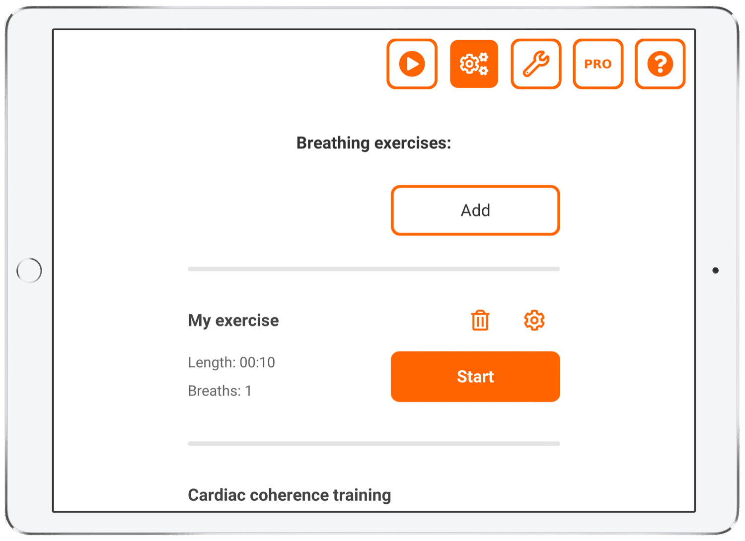 Add your own breathing exercise step 5: Verify your breathing exercise.